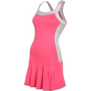 Tenis Wide Strap Dress - neon red/white